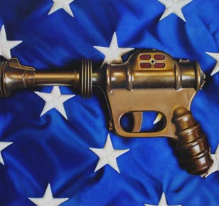 <em>atomic disintegrator part II</em>, oil on cradled panel, 18-in. x 24-in.